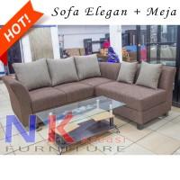 Jual Sofa Kursi Ruang Tamu L putus Minimalis, sofa sudut Elegan + MEJA TAMU Murah