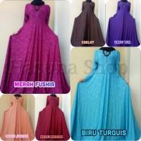 baju muslim wanita Hasuna Shop Gamis Jersey Motif Relief Hitam