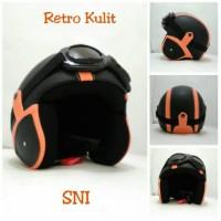 Helm Bogo Retro SNI Kulit Classic Orange Hitam + Kacamata Jual Helm Kl