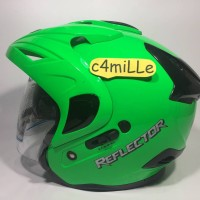 Helm MDS Reflector Double Visor Green Fluo Half Face