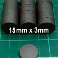 15x3mm Magnet Hitam Ferrite Bulat Koin Tempelan Kulkas 15mm x 3mm