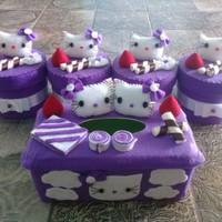 Set Toples Kue Lebaran/Set Toples Hias Flanel Hello Kitty Ungu