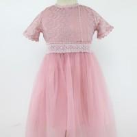 GAUN-DRESS Pesta Anak Brokat white/Pink Victoria Halus 2-8th