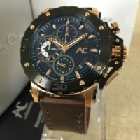 Diskon Jam Tangan 9205 MC AC COLLECTION ROSE GOLD BROWN LEATHER