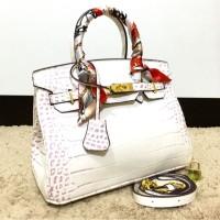 tas tangan Hermes birkin himalayan croco hand bag