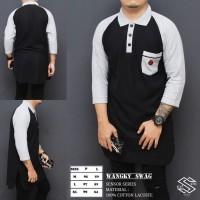Baju Kurta Kerah/ Baju Koko/ Kemeja Muslim Pria X Putih Hitam Modern