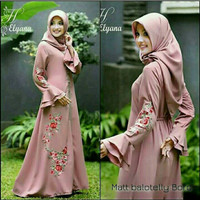 DRESS HIJAB BORDIR LENGAN TEROMPET DUSTY/GAMIS MURAH/WOLFIS/BALOTELY