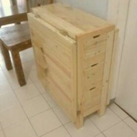 Meja Lipat Unik Swedish Full Kayu Pinus Solid Recycle Pallet Pine Wood