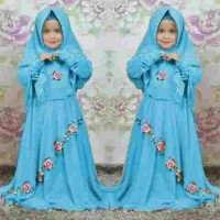 [Syari Anak Dora Biru Muda SW] baju muslim anak perempuan jersey biru