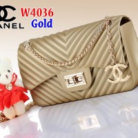Tas Bag Selempang Branded Import Chanel Classis Jelly W4036 4036 Gold