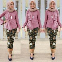 Baju Muslim Setelan Batik Wanita/Pakaian Set Batik Galaxy Dusty Baru