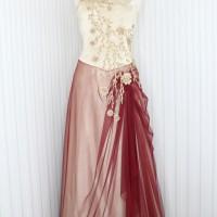 Long dress /gaun pesta warna gold maroon kode 6519