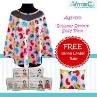 Apron Menyusui Jaring Vitorio Sesame Street Soft Pink + Bantal Peyang
