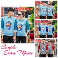 HK S&F Sweater couple doraemon love music lengan panjang - baju