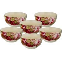 Mangkuk Keramik Capodimonte isi 6 pcs (D: 13.5 cm) Rose
