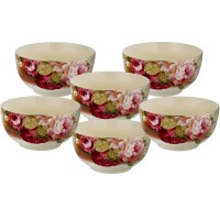 Mangkuk Keramik Capodimonte isi 6 pcs (D: 10.5 cm) Rose