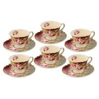 6 Cangkir + Tatakan Keramik Capodimonte Burgundy Rose