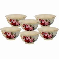 Mangkuk Keramik Capodimonte isi 6 pcs (D: 10.5 cm) Mawar Pink