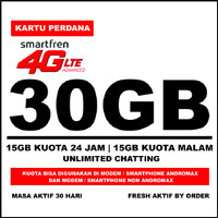 Kartu Perdana Smartfren 4G LTE Kuota 30GB (15GB Utama + 15GB Malam) MR