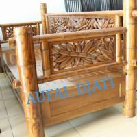 kursi teras santai bangku bele bele daybed risban ukiran bambu jati