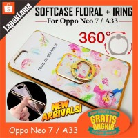 Spesial Turun Harga Case Floral Motif iRing For Oppo Neo 7 A33 Softca