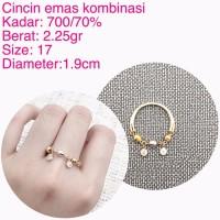 cincin emas kuning kombinasi 2 25 Gram