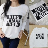 ab-80-SW Kids Jaman Now White baju atasan wanita modis Murah