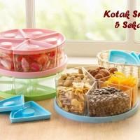 Toples Kue 5 Sekat Tutup kedap udara Kotak Tempat Snack, Permen