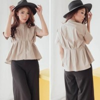 Baju Blus Hem Kemeja Wanita Lengan Pendek Putih Hijau Korea Import