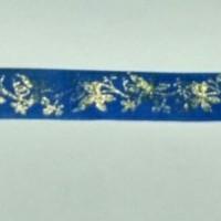 1 Roll Pita Motif Kembang 13mm Biru
