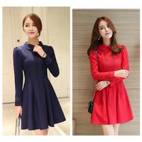 party mini dress lengan panjang gaun pesta korea import blue red