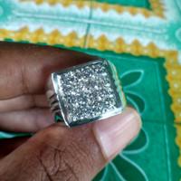 Cincin Laki Berlian Eropa Ring Perak Handmade Size 18.