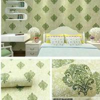 Harga wallpaper batik hijau 45 cm x 10 mtr wallpaper | antitipu.com
