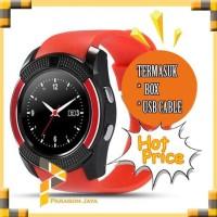 Jual Smartwatch V8 Red / Smart Watch V8 Bluetooth Sim Card Memory
