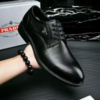 Sepatu kulit bertali pantofel branded pria cowok prada kw mirror