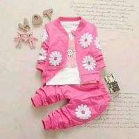 baju setelan jaket anak motif matahari warna pink fanta Murah