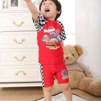 Baju Renang Anak Cowok Import CARS McQueen Swimsuit+Topi Bahan Strech