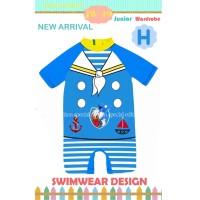 Swimsuit Bayi Warna Biru Muda Baju Renang Donald Bebek Impor Keren