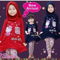 Baju muslim anak hello kitty / baju anak little pineapple 372-12