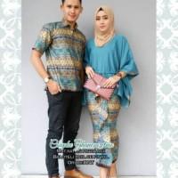 Harga baju batik couple etnik tosca biru   antitipu.com