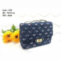 tas tangan hand bag fashion wanita biru hitam undangan bagus sling bag