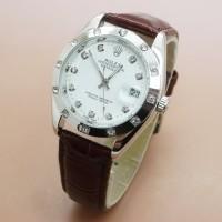 Jam Tangan Wanita Rolex Cellini Kulit Automatic Silver White