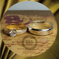 cincin kawin emas kuning dan paladium p5778