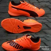 Sepatu Futsal Puma Evospeed SL Oren list Hitam Grade Ori