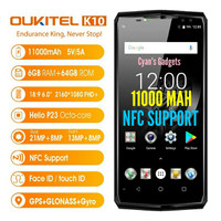 HP 4G OUKITEL K10 Android 11000MaH Helio P23 6GB 64GB Rival iphone X