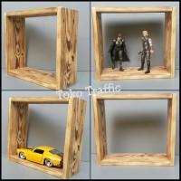 kode C rak kotak mainan kayu pinus rak pajangan dinding,bok display,
