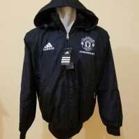 New! Jaket Parasut Waterproof Bulak Balik Manchester United Hitam