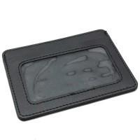 Dompet Kartu Bahan Kulit dengan Slot Transparan Mini Card Holder