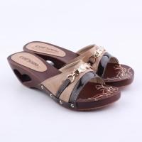 Sandal Selop Kelom Kayu Ukir Geulis Tea High Heels 5 cm