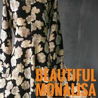 Gamis Dress Motif Olivia Hitam Wolfis Monalisa Murah Lebar Busui Syari